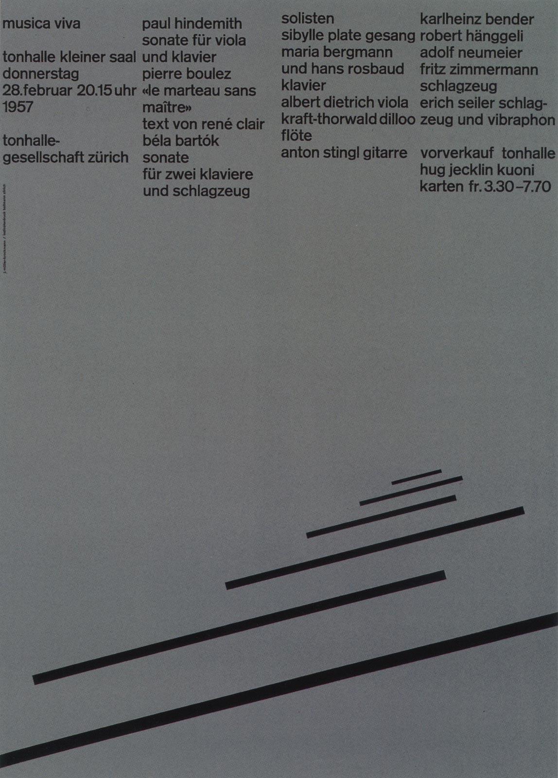 2. Zurich Tonhalle. musica viva. Concert poster, 1957