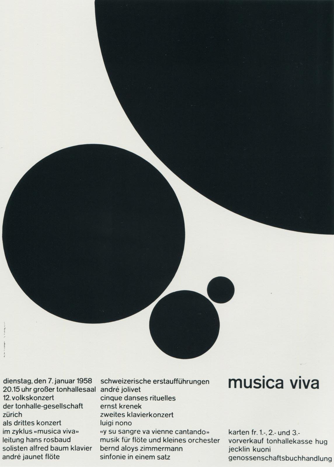 3. Zurich Tonhalle. musica viva. Concert poster, 1958
