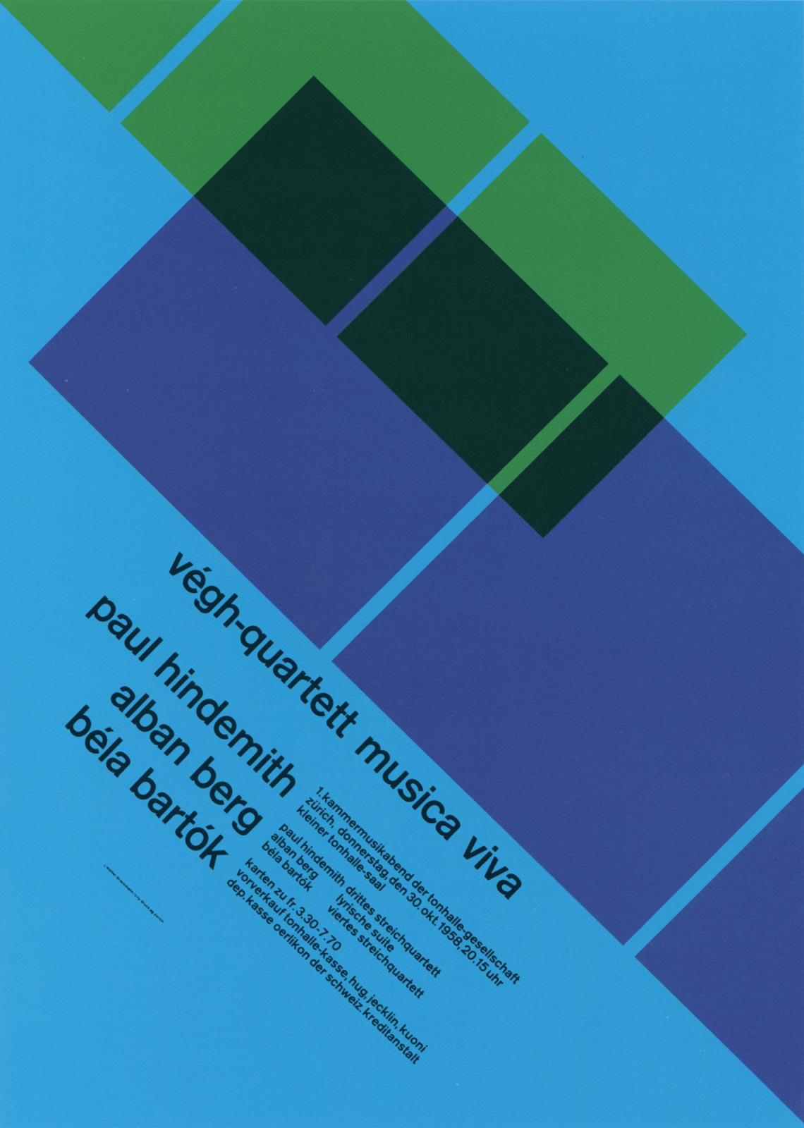4. Zurich Tonhalle. musica viva. Concert poster, 1958
