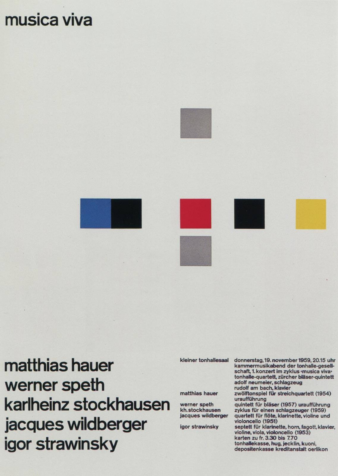 7. Zurich Tonhalle. musica viva. Concert poster, 1959