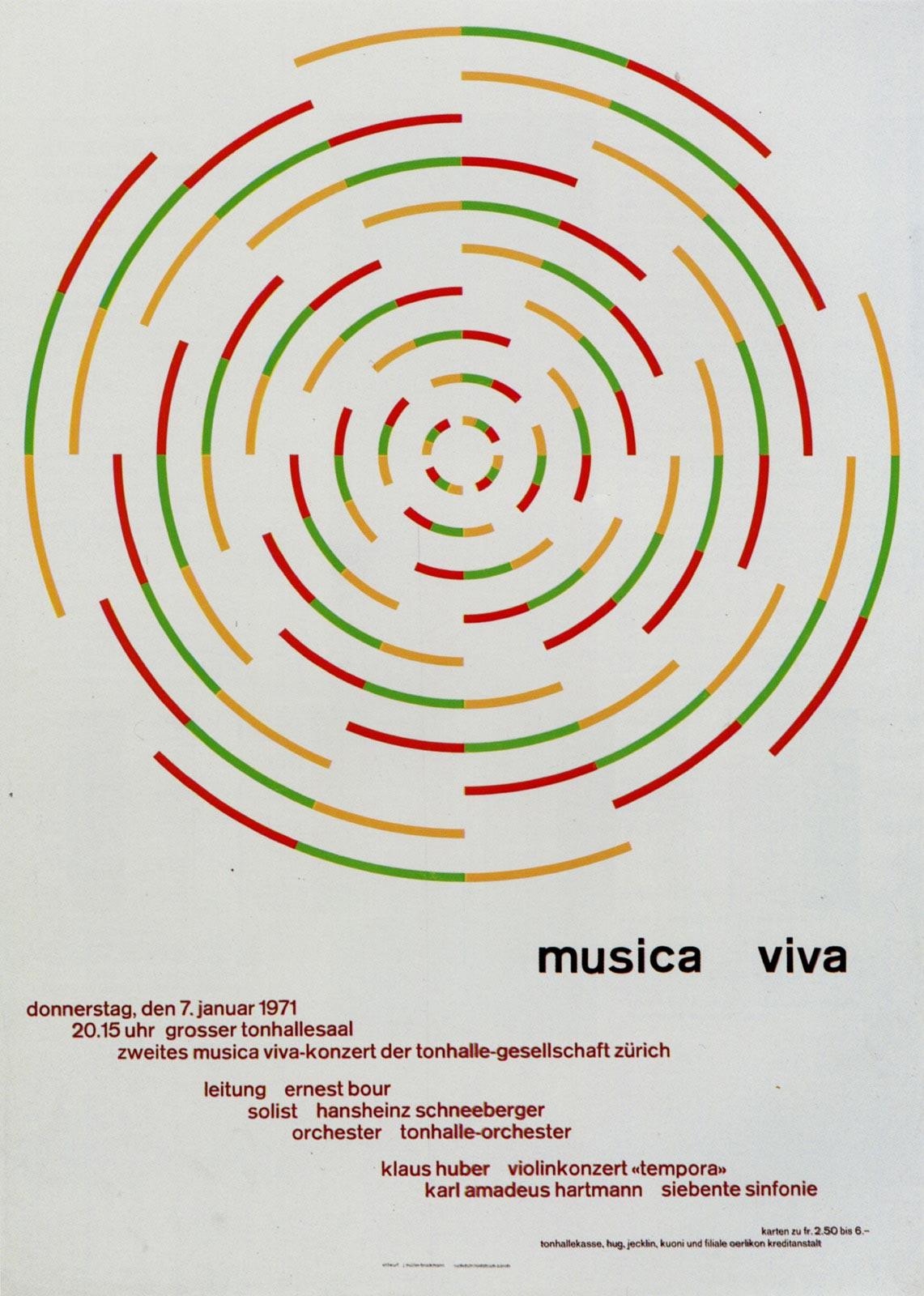 10. Zurich Tonhalle. musica viva. Concert poster, 1971