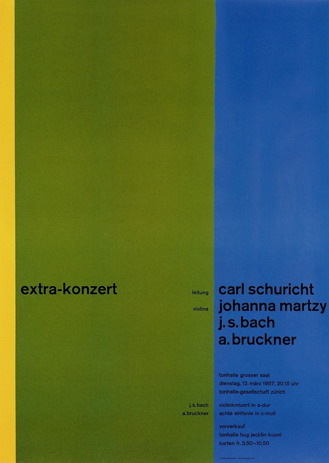 11. Zurich Tonhalle. Concert poster, 1958
