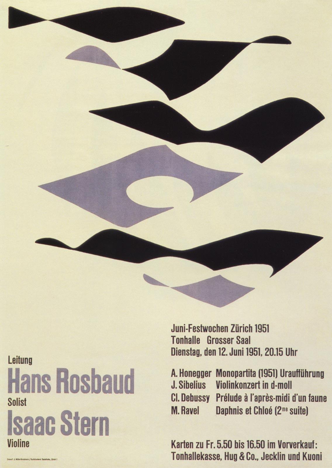 12. Zurich Tonhalle. June Festival. Concert poster, 1951