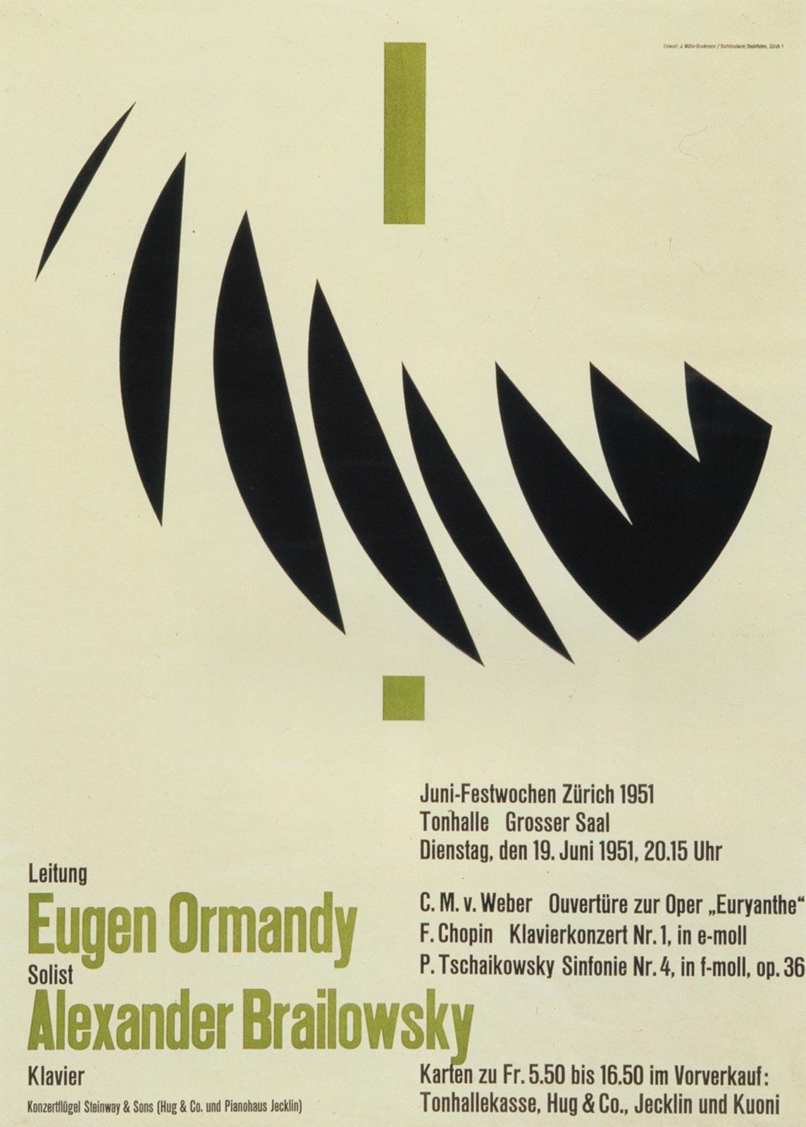 13. Zurich Tonhalle. June Festival. Concert poster, 1951