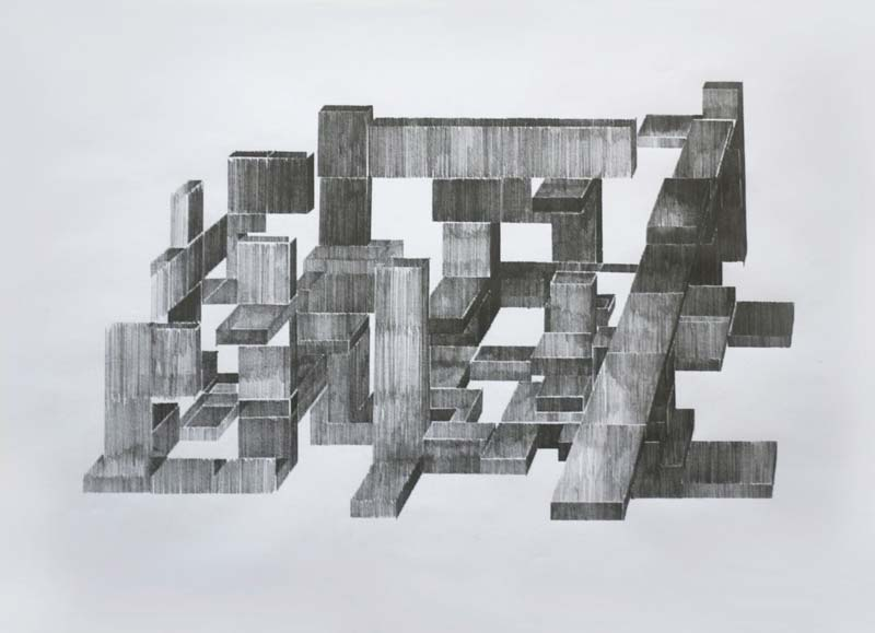 These Enigmatic Pencil Drawings By Kristin Arestava Are An Interesting Experiment In Architectural Visualization The Abstract Volumes Represented