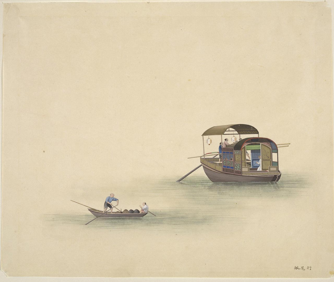 A tail boat, a small craft carrying merchandise that usually followed a larger boat.