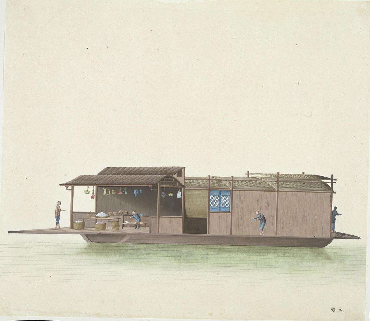 A floating grocery, where food such as pork, rice and fruit was sold alongside cooking stoves, joss sticks and paper ingots.
