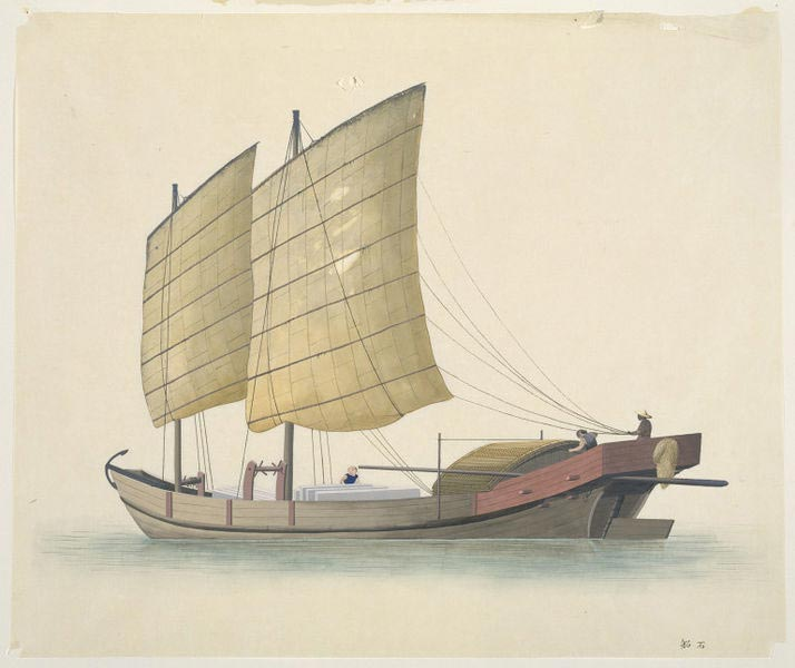 A boat carrying stone slabs.