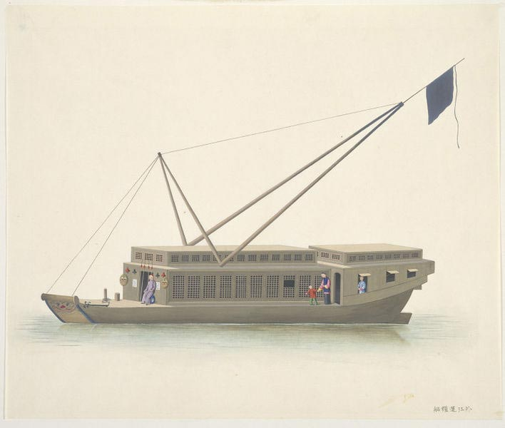 A boat carrying rice from other provinces. Natives of Guangdong routinely referred to other provinces as 'outside the river'.