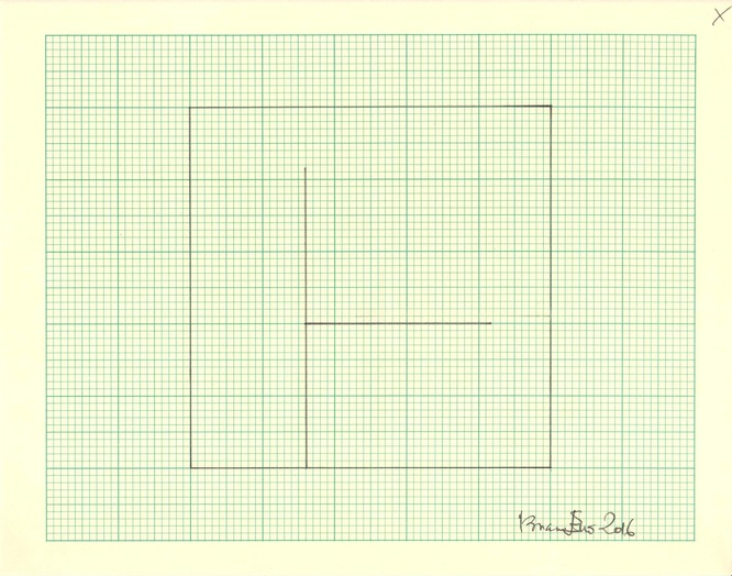 (Study for Light Music 1) Pencil on graph paper  Unique  Signed and dated  Sheet size: 20.5 x 26 cm  Framed size: 41 x 46 cm  2016