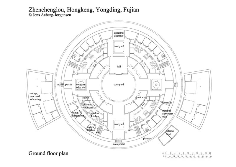 Hakka Tulou traditional Chinese Dwelling drawing plan