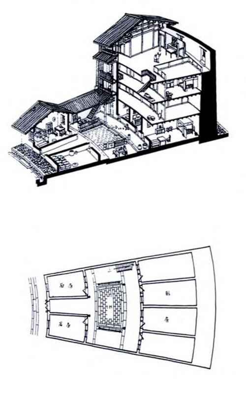 Hakka Tulou traditional Chinese Dwelling drawing axonometry