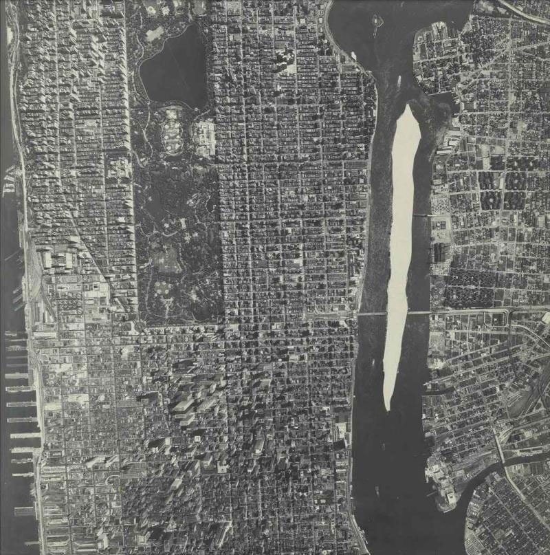 Manhattan with Roosevelt Island Removed, 1978 cut black and white photograph Dimensions: 15.87 X 15.87 in (40.31 X 40.31 cm)