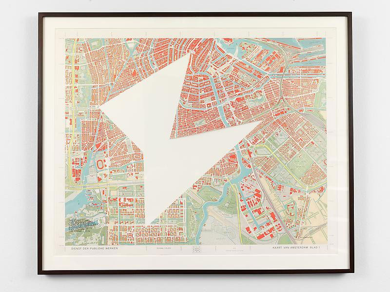 SOL LEWITT R653: Map of Amsterdam with the area between Suriname-Plein, the Dam Mozartkade, Pretorius Plein Zuidholland Straat and Minerva Plein removed 1976 Paper map with area removed Unframed: 25 3/4 x 32 in. (65.4 x 81.3 cm) Framed: 30 x 36 in. (76.2 x 91.4 cm)