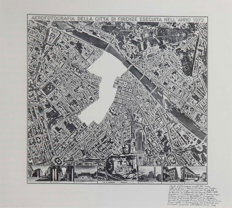 SOL LEWITT Photo of Florence R609 1976 Cut map and ink LeWitt Collection