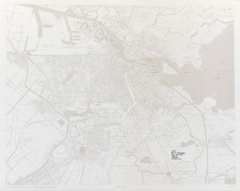 SOL LEWITT R645: Map of Amsterdam with the Amstel (river) Removed 1976 Paper map with area removed Unframed: 30 1/4 x 37 3/4 in. (76.8 x 95.9 cm) Framed: 32 x 39 1/2 in. (81.3 x 100.3 cm)