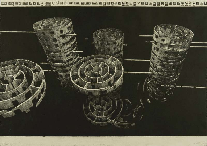 marcin bialas etchings labyrinth stairs