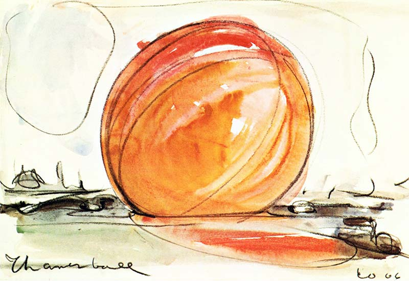 "Claes Oldenburg, Proposed Colossal Monument for Thames River; Thames ""Ball"" 1967"