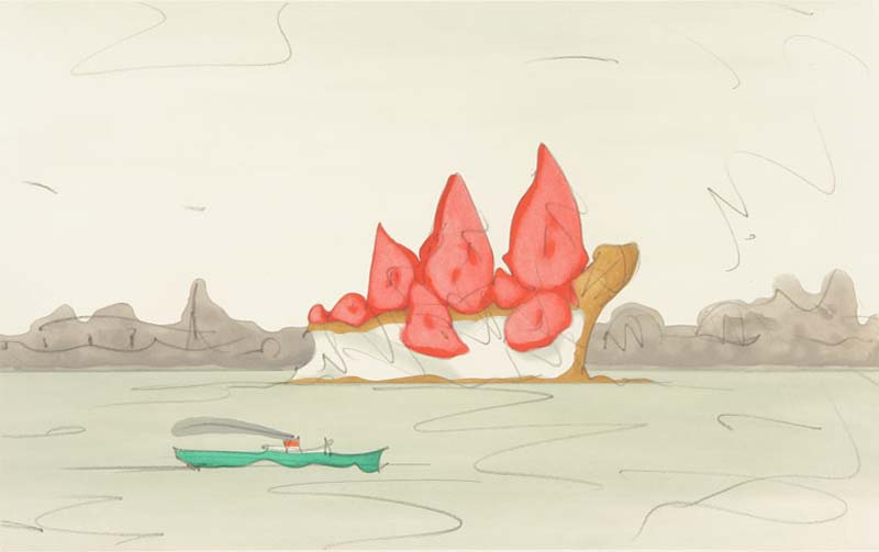 Claes Oldenburg, Proposed Monument for Mill Rock, East River, NYC: Slice of Strawberry Cheesecake, 1992