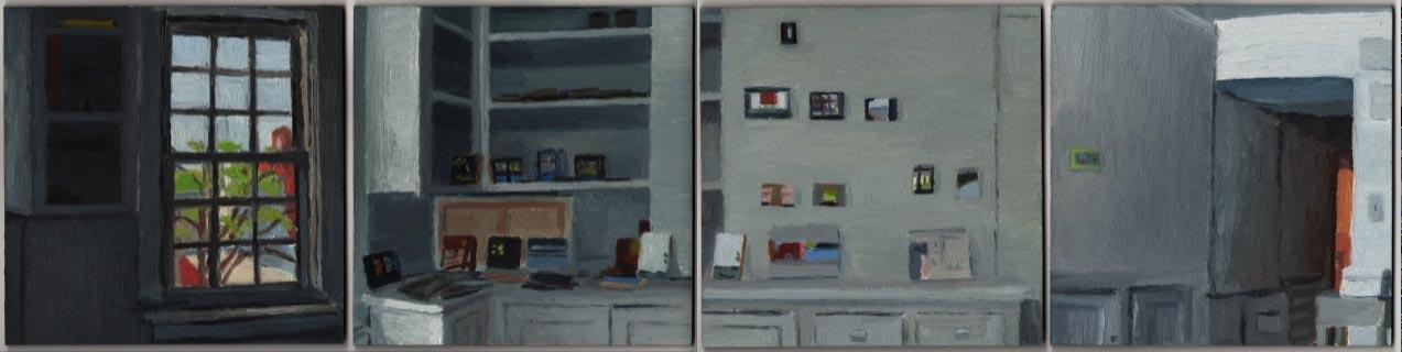 """Studio I 2012, Oil on Four Panels, 5 x 5"""" each"""