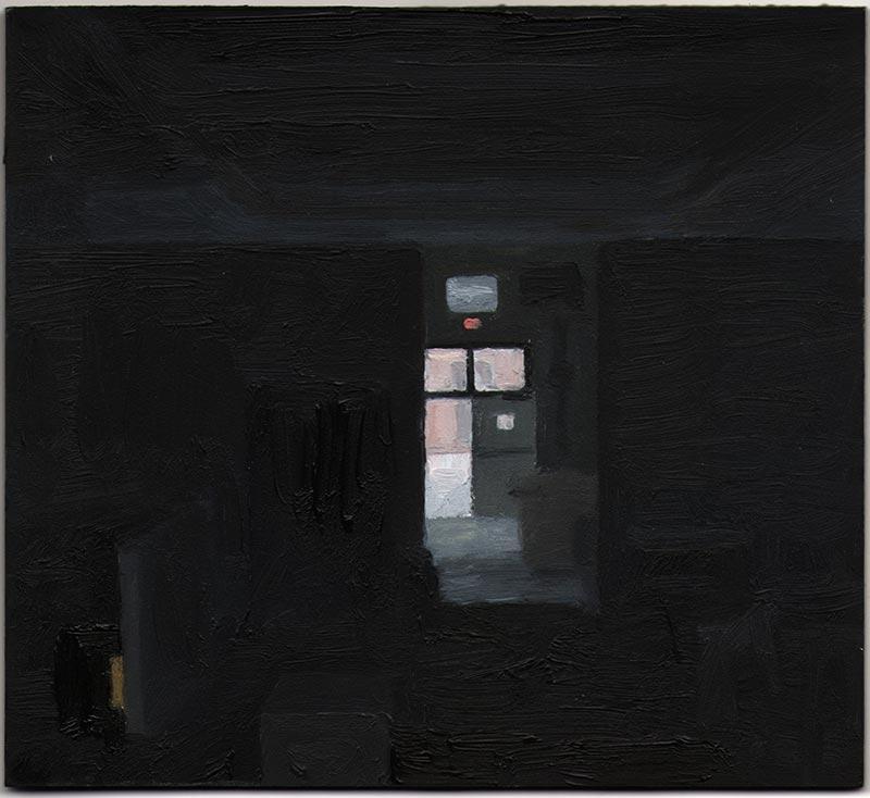 """Sculpture Studio at Dusk 2013, Oil on Panel, 5 7/16 x 6"""""""