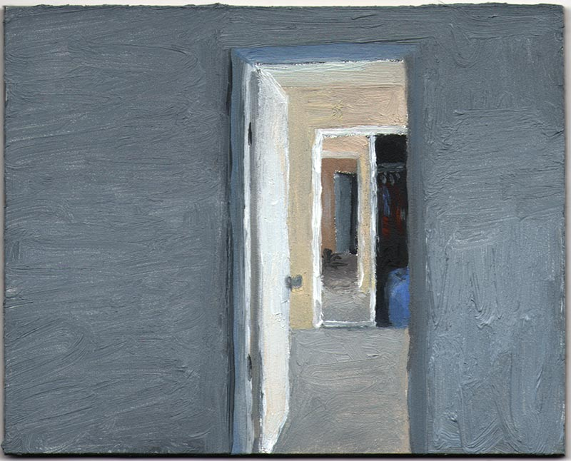 Mike's Room 2012, Oil on Panel, 3 15/16 x 4 7/8""