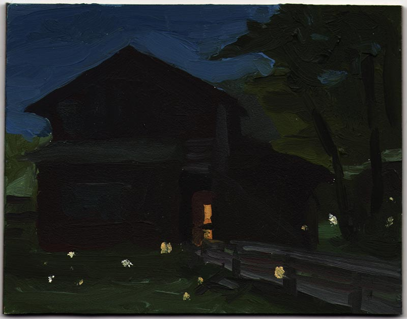 "Fireflies 2012, Oil on Panel, 3 7/16 x 4 7/16"""