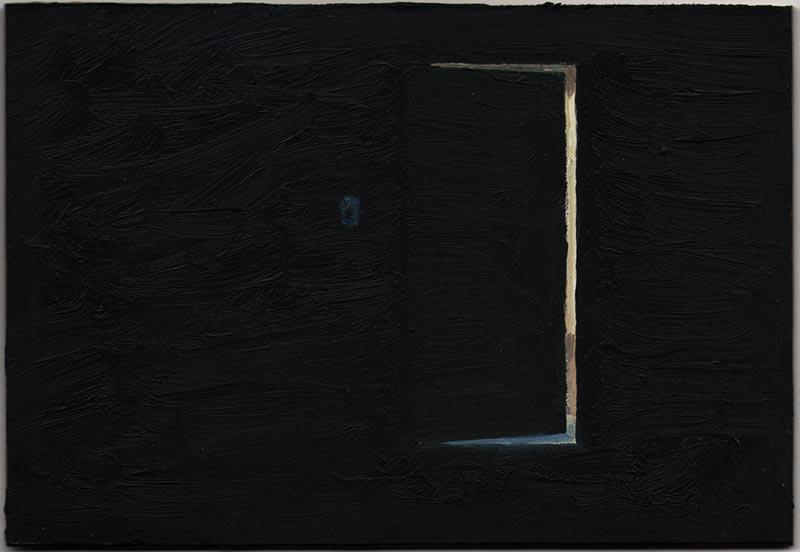 """Cracked Door 2012, Oil on Panel, 3 3/8 x 5"""""""