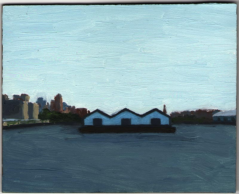 Waterfront Warehouses 2012, Oil on Panel, 4 x 4 7/8""