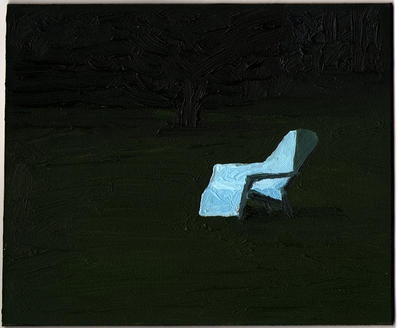 Lawn Chair 2013, Oil on Panel, 5 x 6""