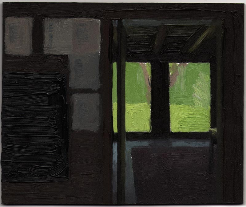 View From the Kitchen (Poems on the Wall) 2013, Oil on Panel, 5 x 6""