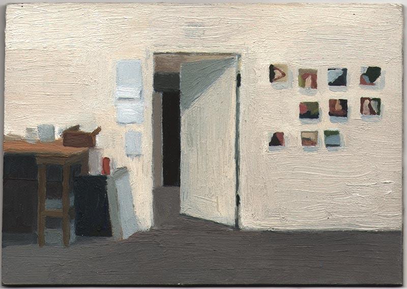 "Lobby Studio 2013, Oil on Panel, 4 4/16 x 6"""