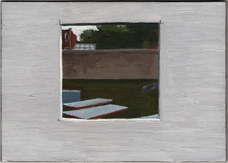 NYC Department of Buildings (Construction Window) 2012, Oil on Panel, 5 x 7""