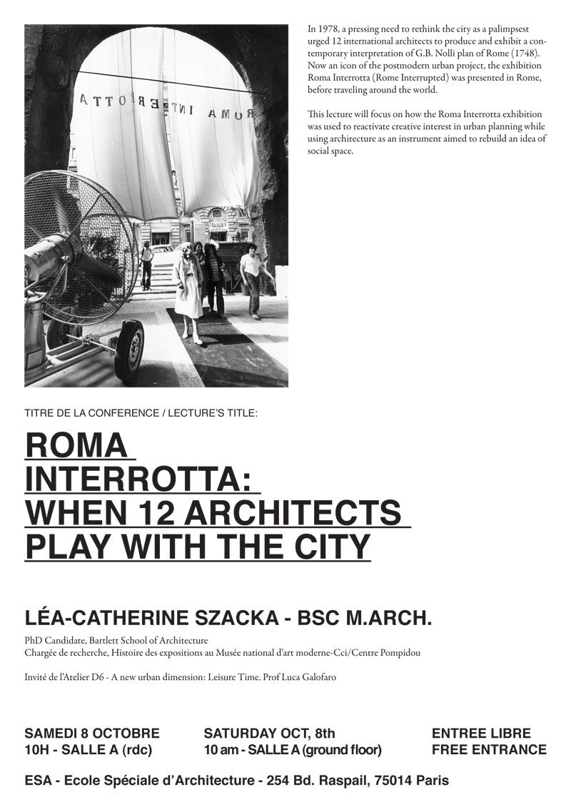 "D Technology Exhibition : ""roma interrotta a lecture at esa paris by léa catherine"