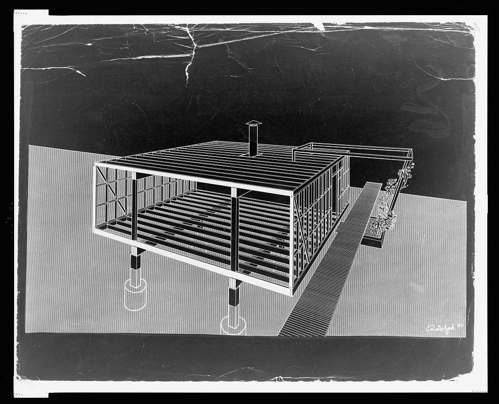 [Miller guest house, Casey Key (Sarasota), Florida. 1950, Framing system. Perspective]