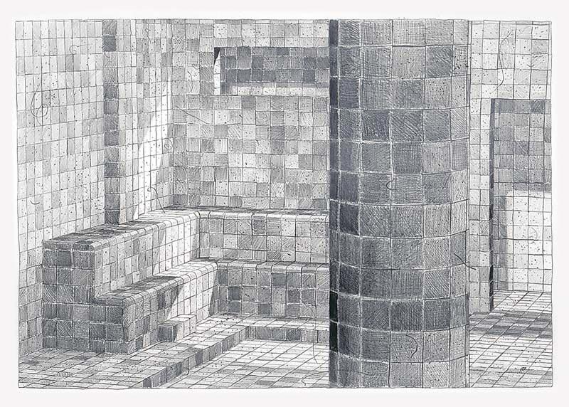 Sauna, 2003 graphite on paper , 57 x 77 cm