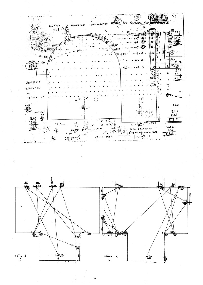 xenakis-polytopes-cluny-04-Composer's-diagrams-showing-distribution-of-flashbulbs-and-laser-trajectories
