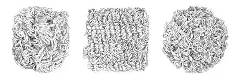 """Instant Noodles graphite on 14"""" x 11"""" bristol paper 2013"""