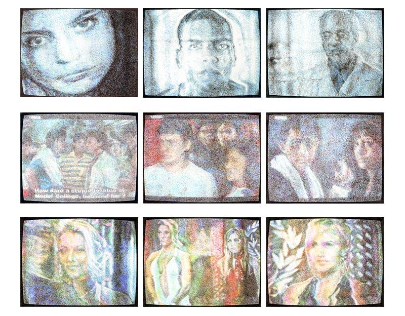 "Late Night TV coloured pencil on 6"" x 4 1/2"" bristol paper 2009"